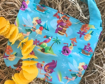 Neverland Island Totebag, Jeff Granito Designs, Tiki, Totebag, Reusable Bag, Tink, Cocktails, Pool Bag, Beach Bag, Gift Bag, Tink