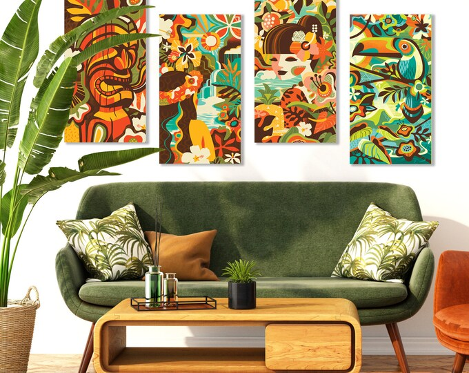 Autographed Gallery Canvas Giclee Set Of Four, Modern Tropics, Domestic Shipping Included