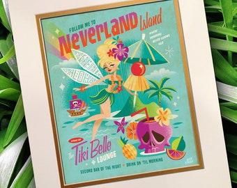 Tiki Belle, Jeff Granito, Tiki, Tinker Bell, Fairies, Tink, Neverland, Hawaiian Art, Bar Sign, Pixie,Pirate Print, Skull Print, Cocktail Art