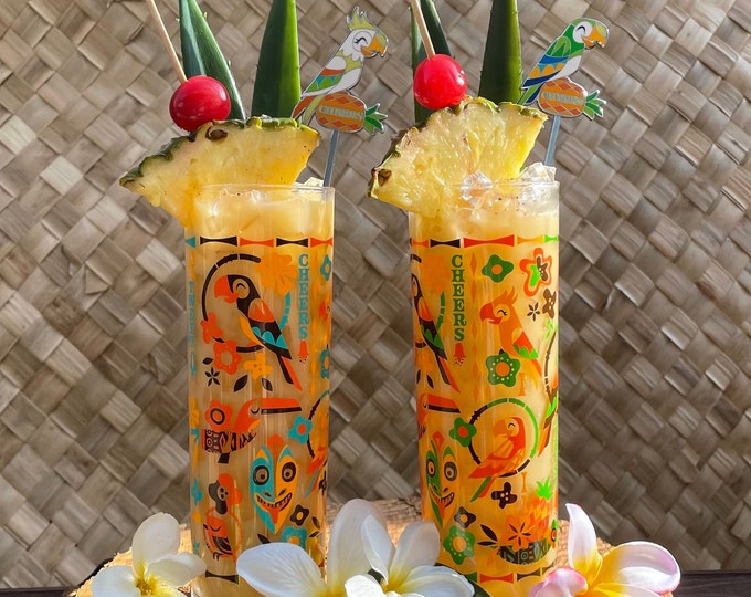 Two Birds Singing Words Zombie Glasses and One Cheers and Sante Parrot Swizzle Stick and One Cockatoo Swizzle Stick