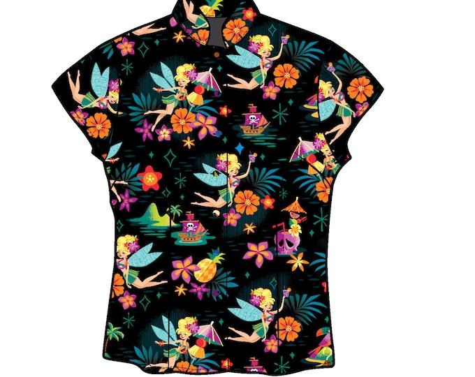 LAST CHANCE, Midnight Tiki Belle Women's Aloha Shirt