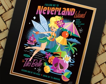 Tiki Belle Night, Jeff Granito Designs, Tiki, Tink, Neverland, Bar Signs, Bar Decor, Pirate Prints, Skull Prints, Aloha Print, Tinkerbel
