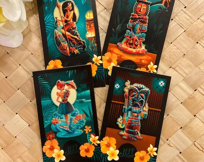 Tiki Portraits 3D Lacquered Porcelain Pin Set of Four