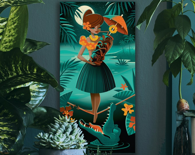 Autographed Gallery Canvas Giclee, Tiki Crocktails, Domestic Shipping Included