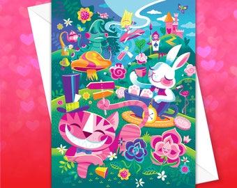 A Walk Through Wonderland, White Rabbit, Greeting Card, Princess, Valentine Card, Alice in Wonderland, Cheshire Cat, Jeff Granito,Spireside