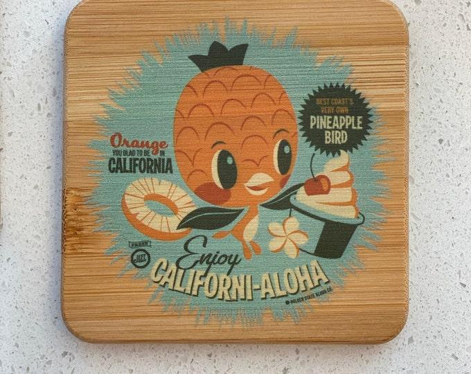Californi-Aloha Single Bamboo Coaster
