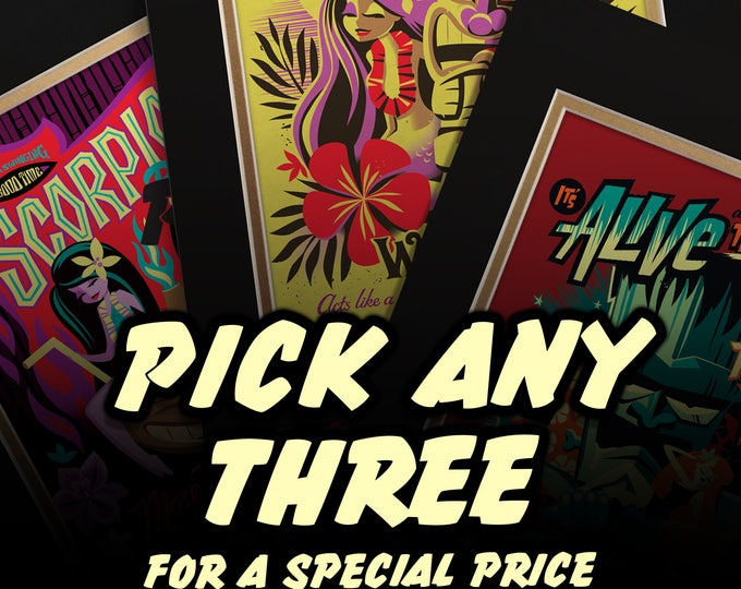 Bundle and Save, Any three UNMATTED prints for 40 Dollars