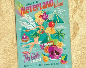 Tiki Belle, Jeff Granito, Tiki, Tinker Belle, Fairy, Pixie, Pixie Dust, Bar Art, Cocktail Sign, Pirates, Skull Prints, Aloha Postcards,Tink