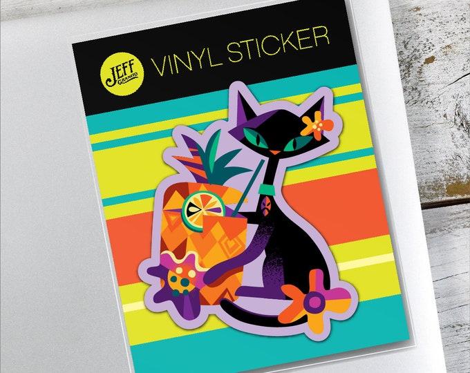 Black Tiki Kitty Vinyl Sticker