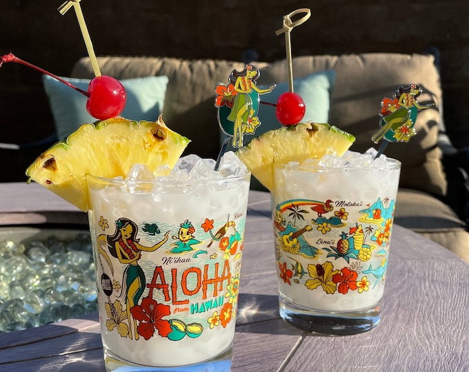Two Wish You Were Here Mai Tia Glasses and Two Swizzle Sticks