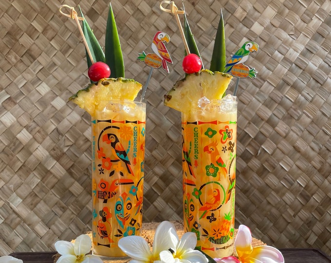 Two Birds Singing Words Zombie Glasses and One Salud and Prost Parrot Swizzle Stick and One Cheers and Sante Swizzle Stick
