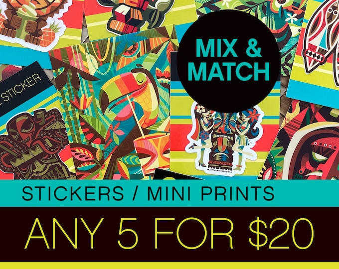 Bundle and Save-Postcard Sticker Special 5 for 20 Dollars
