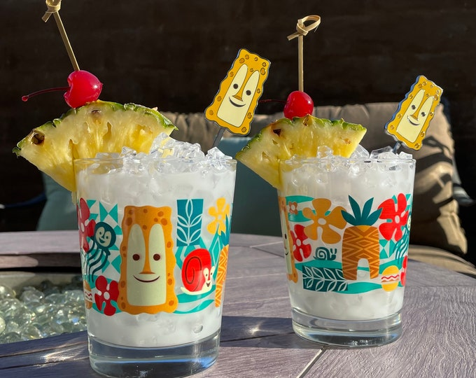 Two Tiki Bob Under the Sea Glasses and Two Tiki Bob Under the Sea Swizzle Sticks