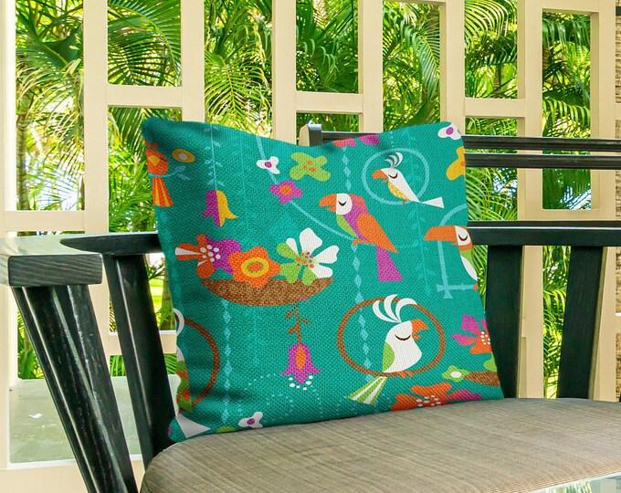 Outdoor Pillow Cover, Tiki Birds