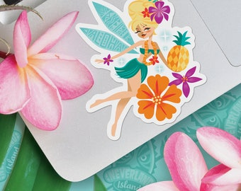 Tiki Belle, Jeff Granito, Tinker Belle, Vinyl Sticker, Decal, Hawaiian Sticker, Tiki, Flower Sticker, Scrapbooking, Tropical Sticker, Aloha
