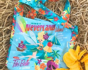 Tiki Belle Totebag, Jeff Granito, Tropical Bag, Beach Bag, Gift Bag, Tink Tote, Fairy Accessory, Cocktail, Drink Umbrella, Tiki, Neverland