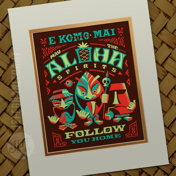 Aloha Sprits Bright Bungalow Art Polynesian Decor Beach Decor Bar Decor Tiki Sign Tiki Art Ghost Prints By Jeff Granito