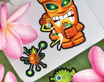 Tiki Planet, Jeff Granito, Tiki, Idol, Hula Girl, Party Favors, Stickers, Scrapbooking, Space Stickers, Vinyl Stickers, Hula, Fish Sticker