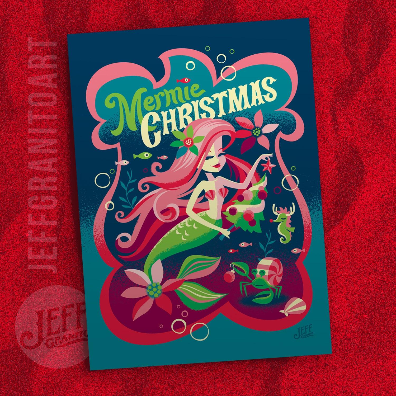 Mermie Christmas Greeting Card by Jeff Granito, Mermaid, Tiki ...
