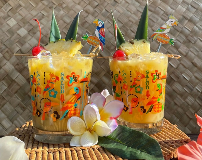 Two Birds Singing Words Mai Tia Glasses, One Parrot Swizzle Stick and One Cockatoo Swizzle Stick