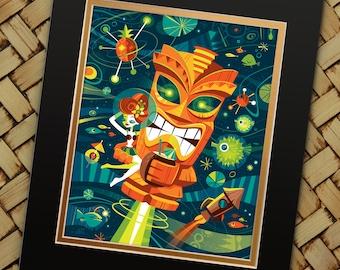 Tiki Planet, Jeff Granito, Tiki, Outer Space, Rocket Print, Tiki Bar, Sci Fi, Under the Sea, Luau Decor, Hawaiian Party Favor, Planets