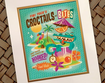 Tiki Tock's Croctail's, Jeff Granito, Neverland, Captain Hook,Crocodile, Cocktail Prints, Bar Signs, Bar Art, Island Times, Peter Pan, Pixie