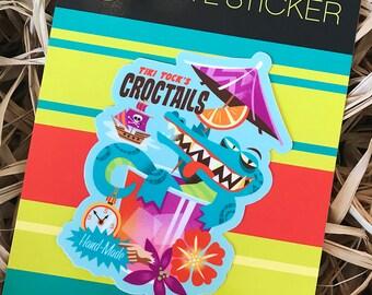 Crocktails, Jeff Granito Designs, Tiki, Cocktail, Vinyl Stickers, Bar Decor, Bumper Sticker, Aloha Stickers, Pirate Stickers, Hawaiian Art