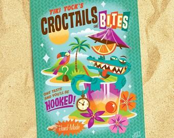 Tick Tock Croctail's, Jeff Granito, Neverland, Tinker Bell, Tiki Bar Art, Island Times, Beach Postcards, Storybook, Pixie Dust, Parrot Print