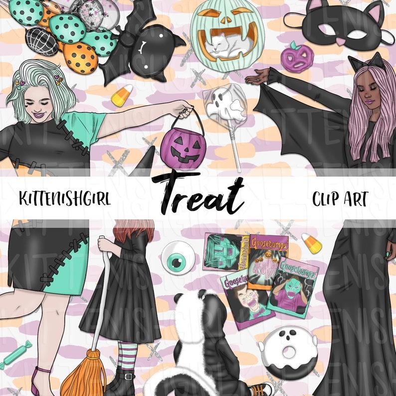 Treat CLIP ART Halloween Trick or Treat Spooky Monster Cat image 0