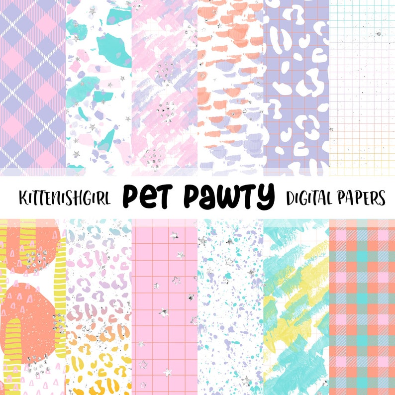 Pet Pawty DIGITAL PAPER Painterly Grid Abstract Bright Fun image 0