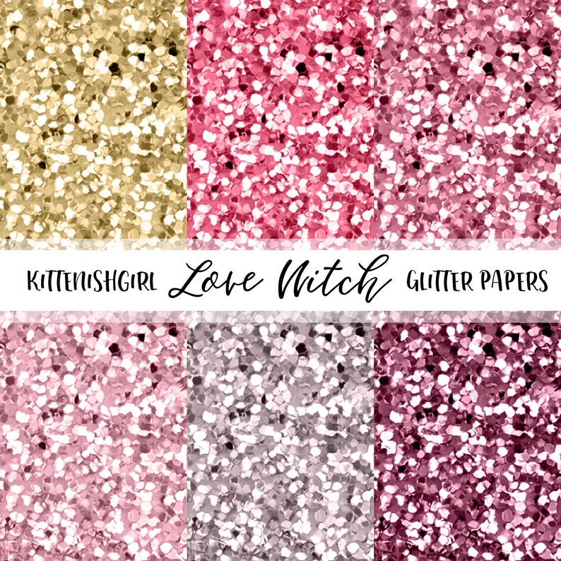 Love Witch GLITTER Digital PAPER Pink Gold Maroon image 0