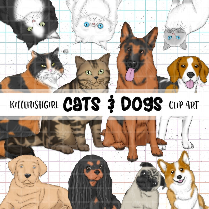 Cats & Dogs CLIP ART Cat Dog Pet Animal Lover Cute Fluffy image 0