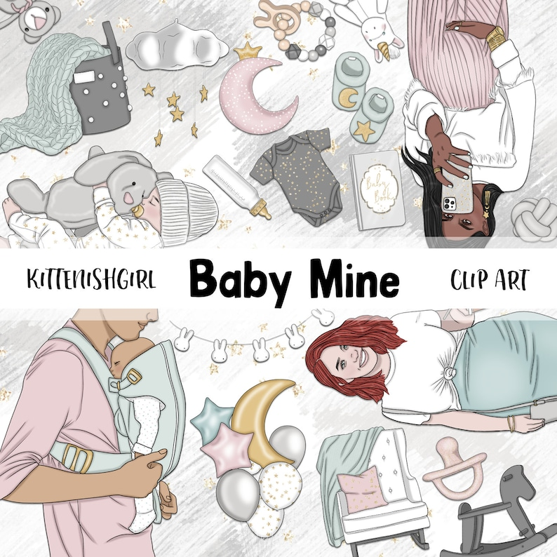 Baby Mine CLIP ART Maternity Baby Shower Birth Children image 0