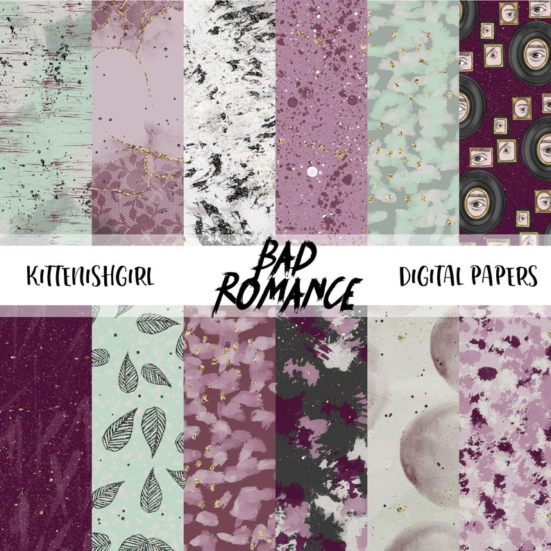 Bad Romance DIGITAL PAPER Painterly Pink Mauve Plum Sage Green image 0