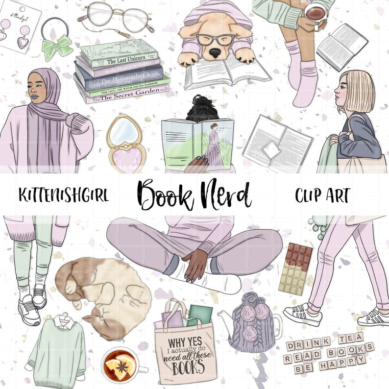 Book Nerd CLIP ART Reading Library Books Spring Winter Puppy image 0