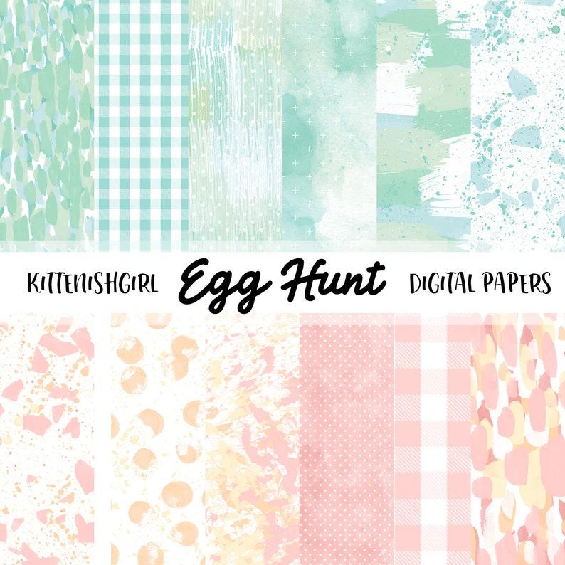 Egg Hunt DIGITAL PAPER Easter Painterly Abstract Glitter image 0