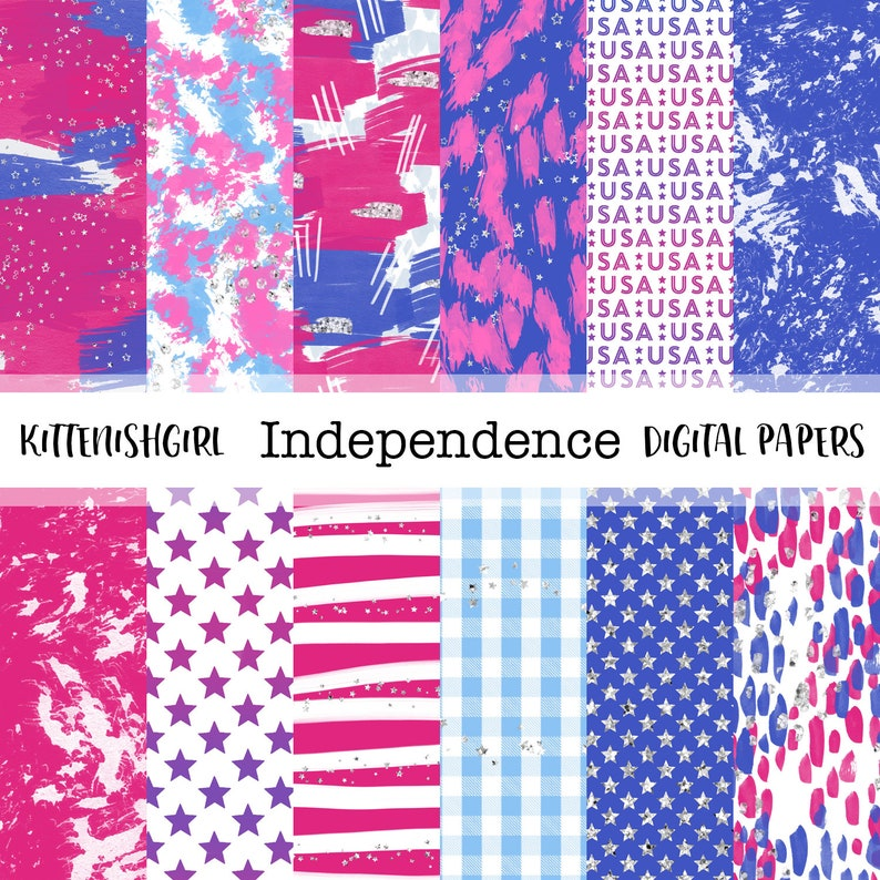 Independence DIGITAL PAPER Blue Pink USA 4th July Painterly image 0