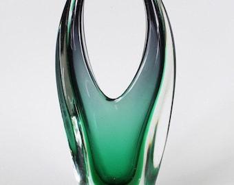 Green Murano Submerged Glass Vase Seguso, circa 1970