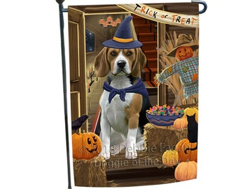 Enter At Own Risk Trick Or Treat Halloween Beagle Dog Garden Flag