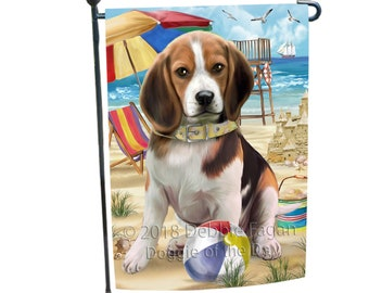 Pet Friendly Beach Beagle Dog Garden Flag