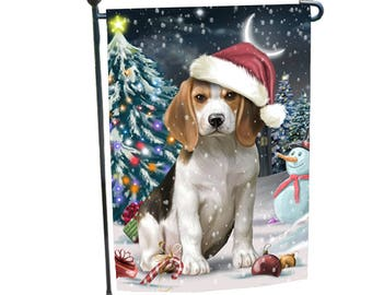 Charmant Holly Jolly Christmas Holiday Beagle Dog Wearing Santa Hat Garden Flag
