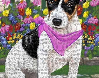 Spring Floral Jack Russell Dog Puzzle with Photo Tin