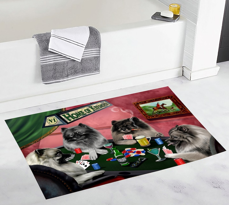 Playing Poker Dogs Bath Mat German Shorthaired Great Dane Golden Retriever Goldendoodle Greater Swiss Mountain Greyhound