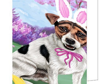 Jack Russell Terrier Dog Easter Holiday Set of 10 Greeting Cards
