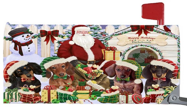 Doberman Pinscher German Shepherd French Bull Dalmatian Corgi Cocker Spaniel Christmas Dog House Gathering  Mailbox Covers Dachshund