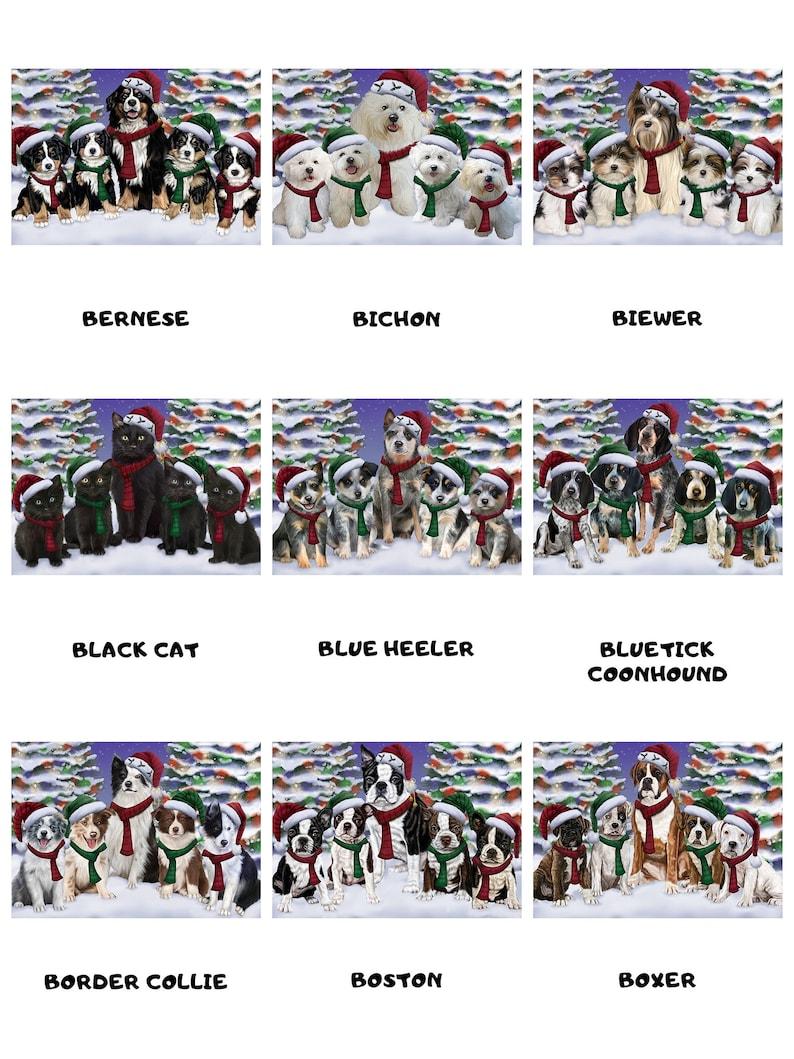 Shih Tzu Samoyed Schnauzer Rottweiler Shar Pei Rat Terrier Personalized Christmas Family Portrait Dog Cat Glass Cutting Board