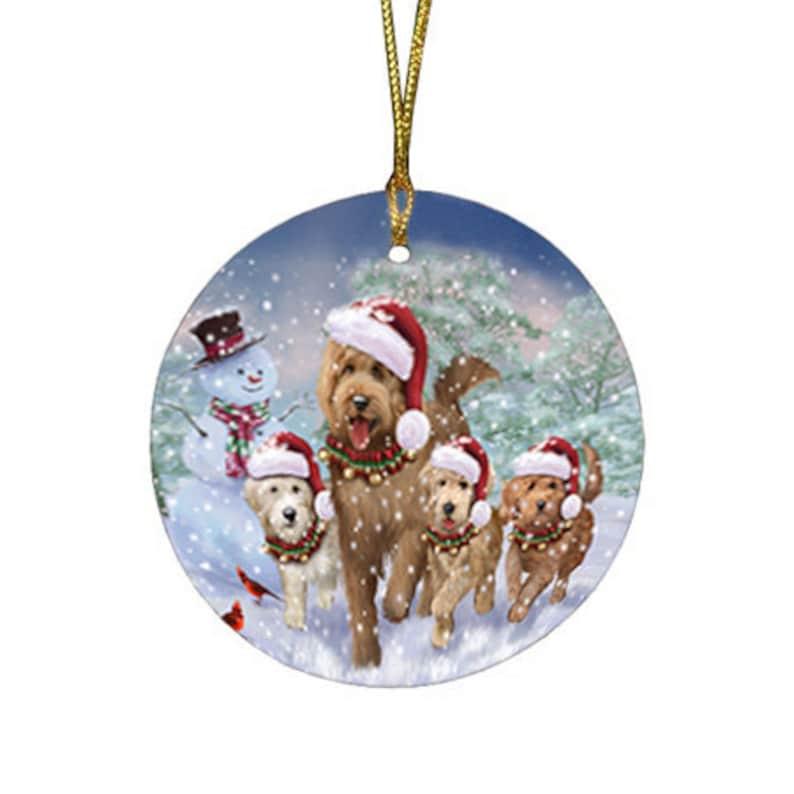 Christmas Running Dog   Round Flat  Ornament,Dogue de Bordeaux French Bull Fox terrier German Shepherds English Springer Spaniels