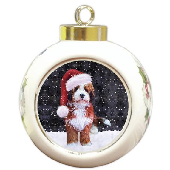 Let It Snow Christmas Holiday Bernedoodle Dog Wearing Santa Etsy