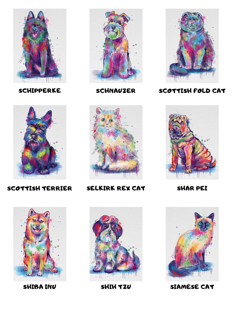 Custom Pet Name Personalized Watercolor Dogs Backpack Breeds! Available in Over 150 Dogs Cats Pets Name Personalized Backpack
