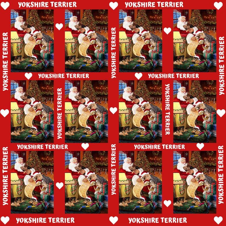 Santa Sleeping with Dog /& Cats Semi-Automatic Foldable Umbrella Yorkshire Terrier